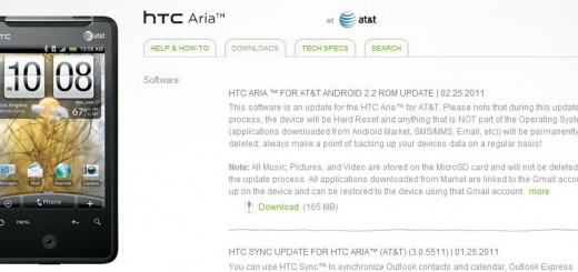 HTC Aria Android 2.2 Froyo Update Outs Now