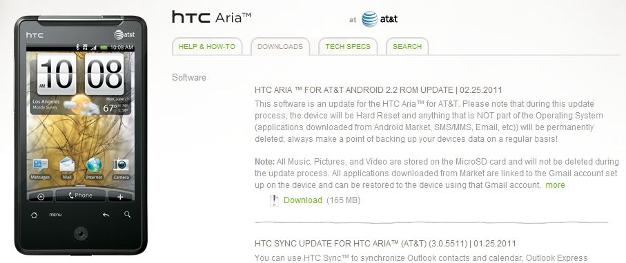 HTC Aria Android 2.2 Froyo‎ Update Outs Now