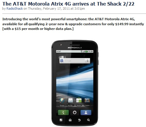 RadioShack  offers Motorola ATRIX 4G for $149.99; releasing on February 22