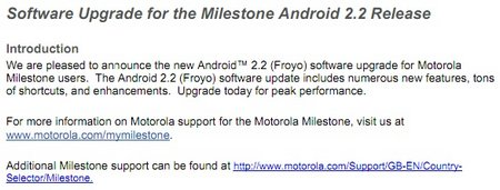 Android 2.2 Froyo Update for Motorola MILESTONE finally available for download