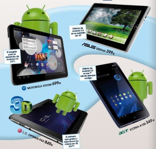 Price of Acer Iconia A100, LG Optimus Pad and ASUS Eee Pad revealed