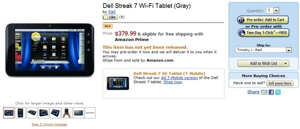 Dell Streak 7 WiFi-only release expected soon, Pre-order on Amazon