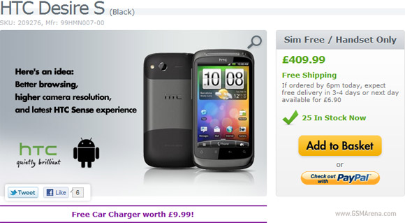 SIM-free HTC Desire S Android Smartphone is now on Sale in UK for a Price of £410