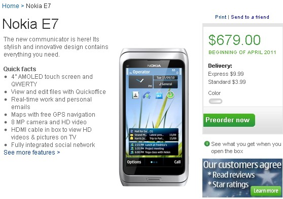 Nokia E7 now on Pre-order in US and India; pricing $679