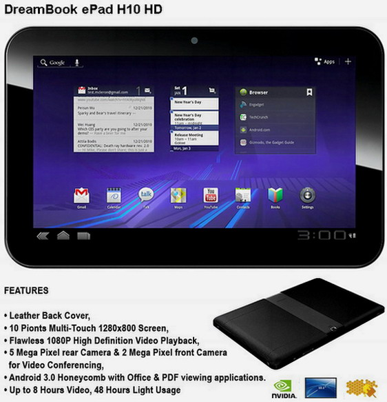 Pioneer DreamBook ePad H10 HD Honeycomb Tablet unveiled; coming mid-April