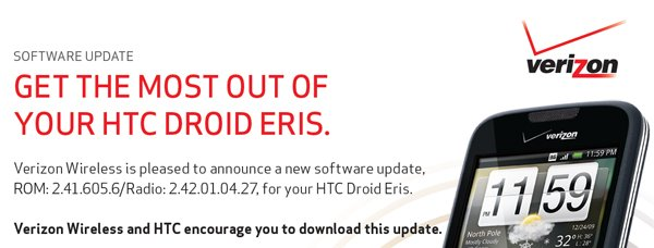 Verizon HTC Droid Eris Gets OTA Firmware Update