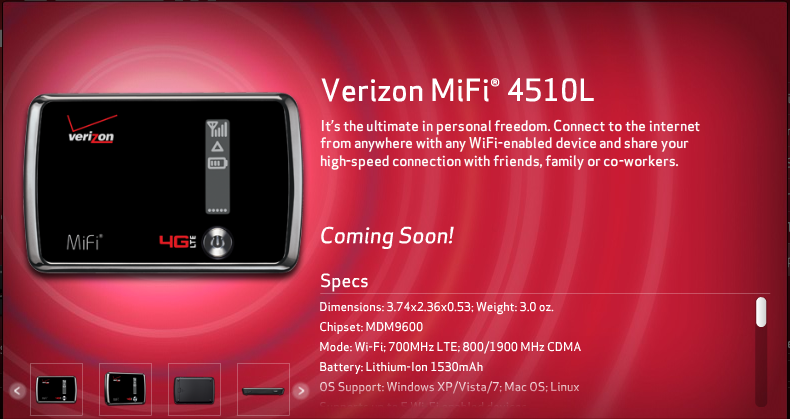 Verizon to release two New 4G LTE MiFi hotspots soon