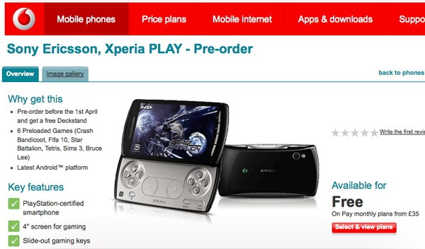 Vodafone UK begins Sony Ericsson XPERIA Play Pre-order for March 31st Launch
