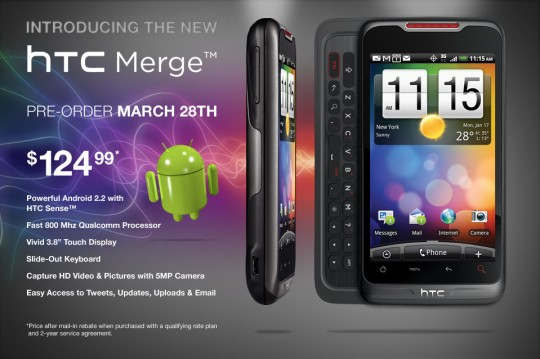 Alltel HTC Merge Smartphone pre-order begins on March 28 for a Price of $124.99