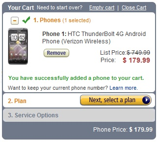 HTC Thunderbolt 4G Smartphone gets a Price cut; Now available for $179 on Amazon