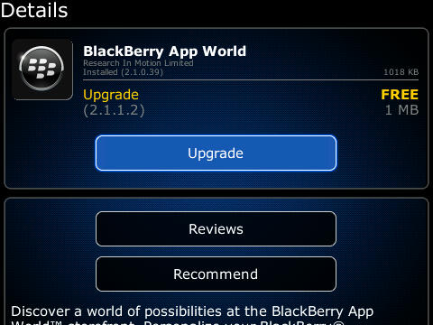 BlackBerry releases New App World V.2.1.1.2; Now available for Download