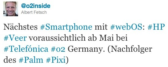 O2 Germany says that the HP Veer will be available in EU from May