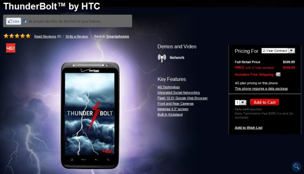 HTC Thunderbolt available for Purchase on Verizon's Website; First Unboxing and Hands-on Video
