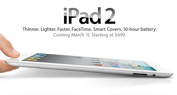 Apple iPad 2 is now official; iPad 2 with Wi-Fi to be available on March 11