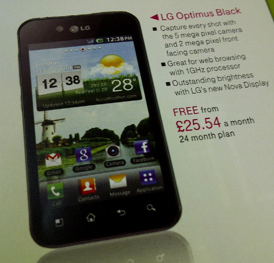 LG Optimus Black to be available for Free from T-mobile UK on two year Contract
