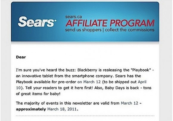BlackBerry PlayBook Pre-order date; shipping on April 10?