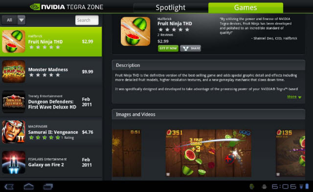 NVIDIA Tegra Zone App Lanches on Android Market
