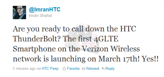 HTC Thunderbolt for Verizon to be released on March 17?; HTC Rep tweets the date of release via Twitter