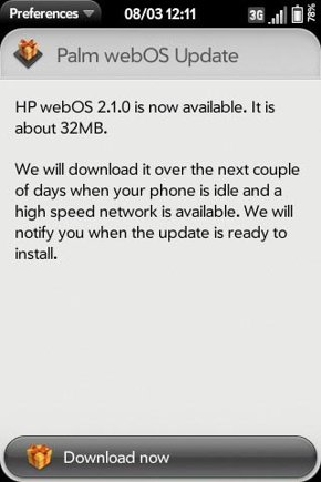 HP reportedly releases webOS 2.1 Update for Palm Pre 2