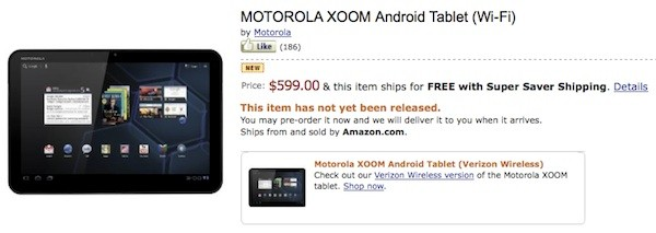 Motorola XOOM Tablet now available for pre-order from Amazon, Costco and Staples