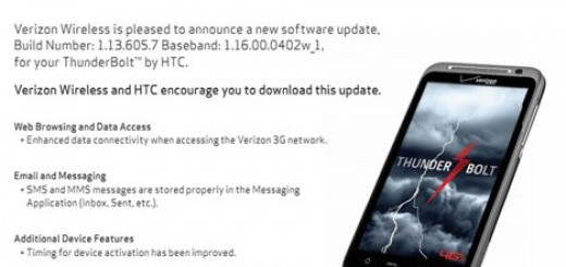Verizon to release Software update to HTC Thunderbolt 4G soon