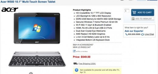 B&H puts the Acer Iconia W500 Tablet PC for Pre-order at a price of $549