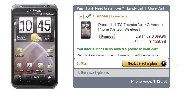 Verizon HTC Thunderbolt 4G Smartphone gets price cut by Amazon; Now for Just $130