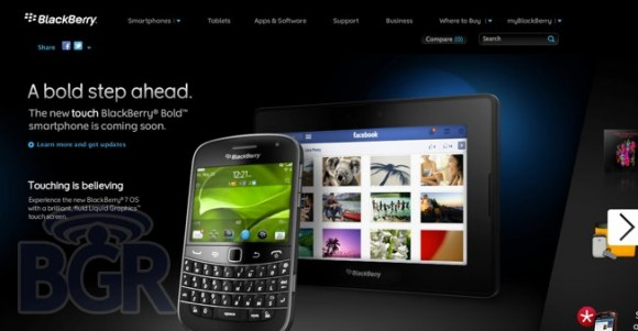 BlackBerry Bold Touch 9900 Smartphone Images appeared on RIM's Website