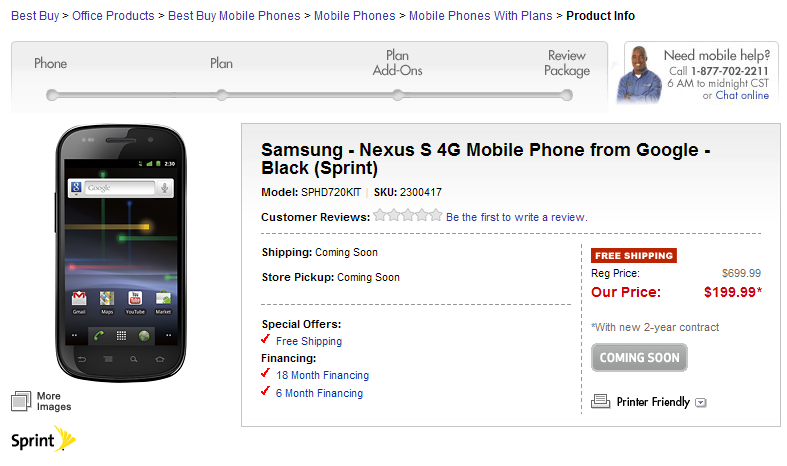 Sprint Nexus S 4G to release on April 6; Pre-order Nexus S 4G on Best Buy for a Price of $199.99