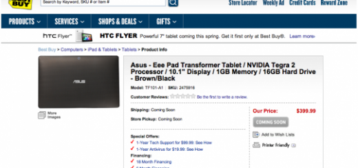 ASUS Eee Pad Transformer makes its appearance on Best Buy and Newegg with $399 Price Tag
