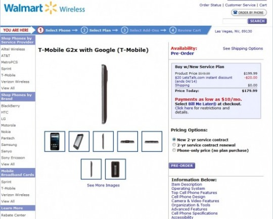 Walmart begins pre-order for LG G2x Smartphone at a price of $179.99