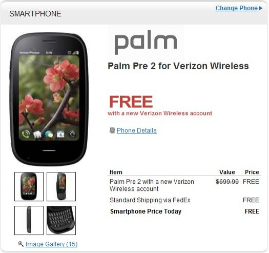 HP offers Palm Pre 2 webOS Smartphone for Verizon for free on two year Contract
