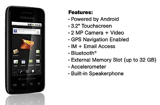 Samsung Galaxy Prevail Android 2.2 phone for Boost Mobile