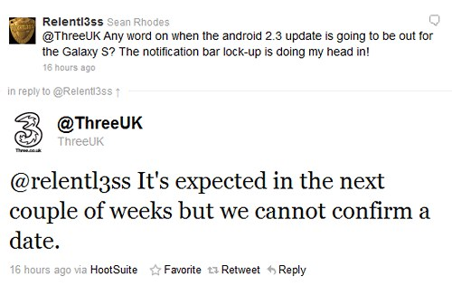 Three UK confirms Samsung Galaxy S Smartphone will get Android 2.3 Gingerbread Update Couple of Weeks