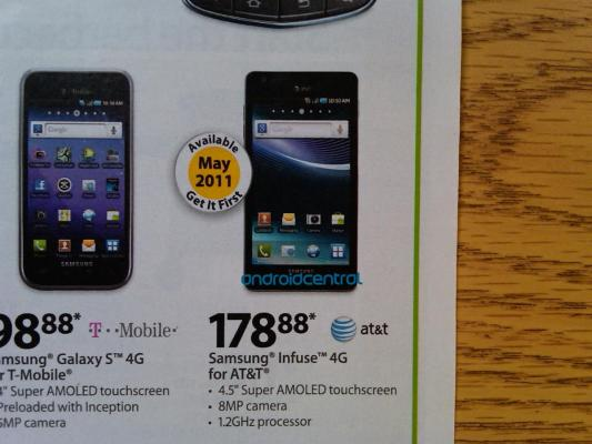 Walmart Samsung Infuse 4G Release Date in May; priced as $180