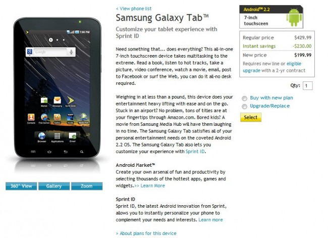 "Sprint Samsung 7"" Galaxy Tab gets a Price cut; Now for $199.99"