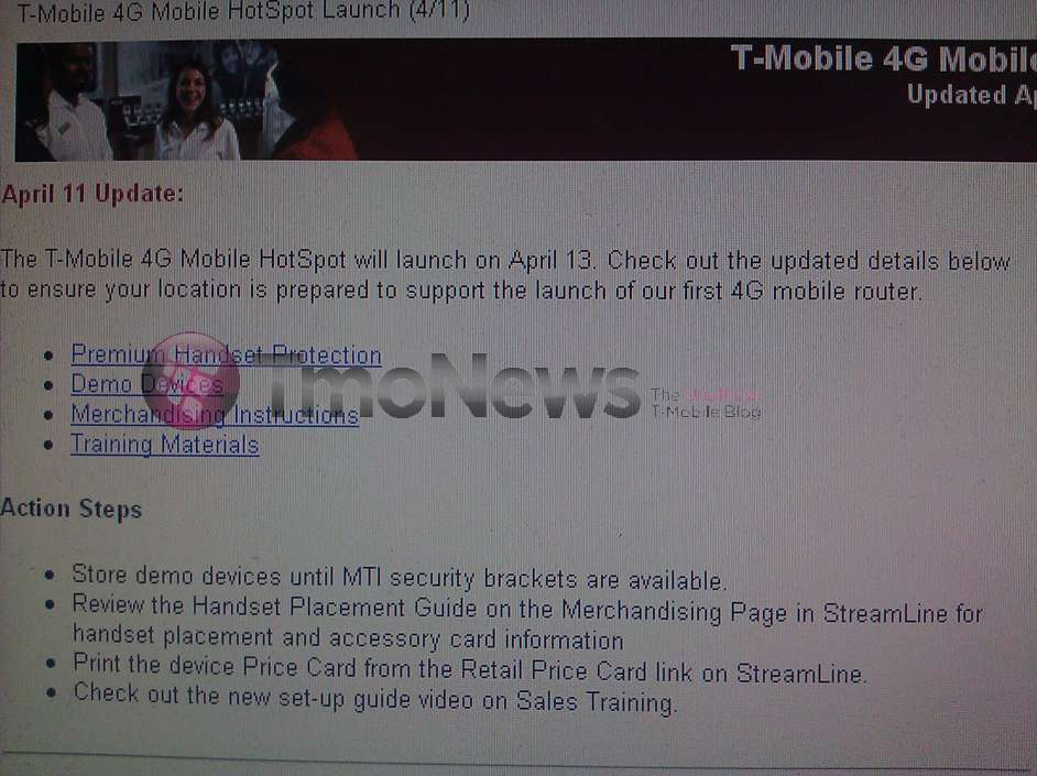 T-Mobile to release 4G Mobile Hotspot on April 13 for a Price of $19.99