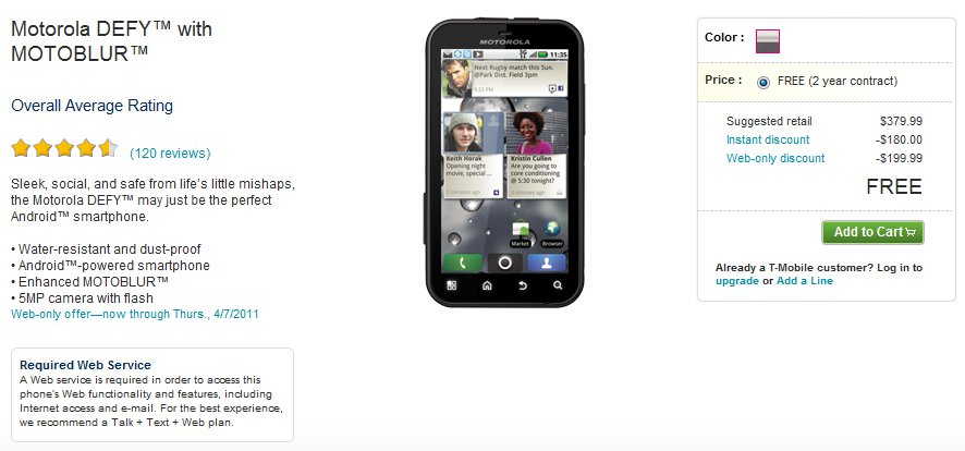 T-Mobile offers Motorola Defy Smartphone for Free on two-year Contract