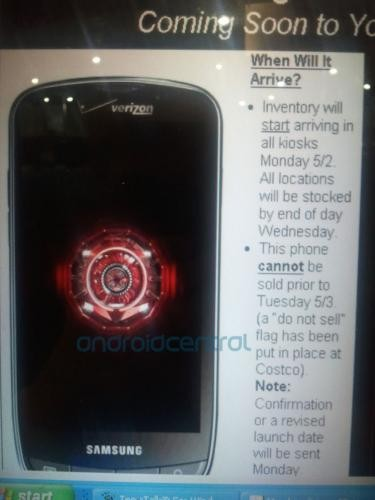 Samsung Droid Charge expected to be released on the Date of May 3; Verizon Document leaks