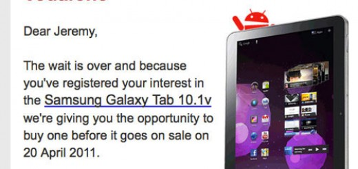 Vodafone Australia puts the Samsung Galaxy Tab on Pre-order for a Price of AU$259; Shipping on May 1