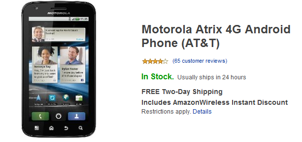 Amazon offers Motorola ATRIX 4G for AT&T at a Price of $49.99