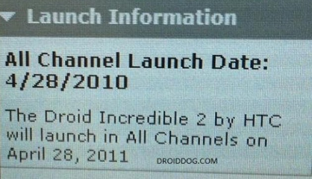 Verizon HTC Droid Incredible 2 expected to be released on April 28; Internal Document leaked