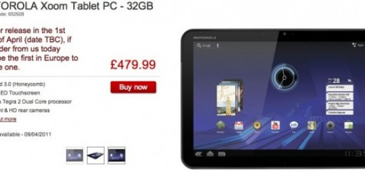 Motorola XOOM WiFI only Tablet gets a Pre-release Price Slash from Dixons in UK; releasing this Week