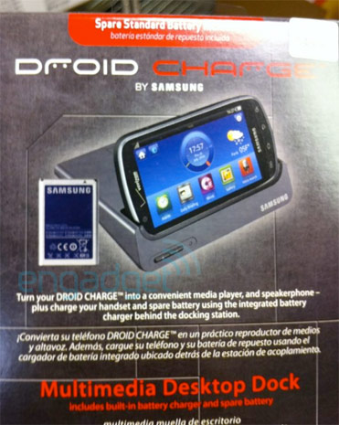 Samsung Droid Charge with Desktop Dock appears on a Promo Material