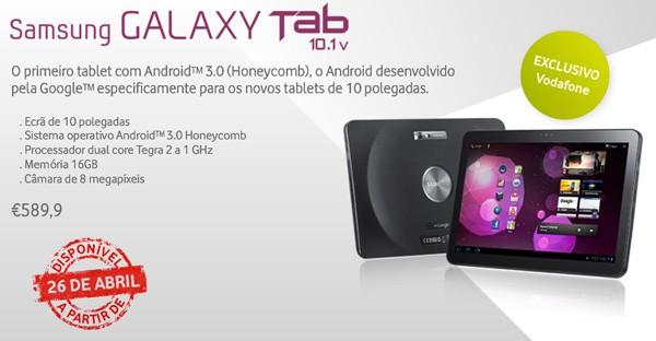Samsung Galaxy Tab 10.1v to be released on Date of April 26 in Portugal; Pricing €590