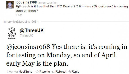 Android Gingerbread Update for HTC Desire to release at the end of April or early May