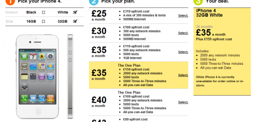 Three UK lists the White iPhone 4 on its Website with Price and Plans; releasing on April 20?