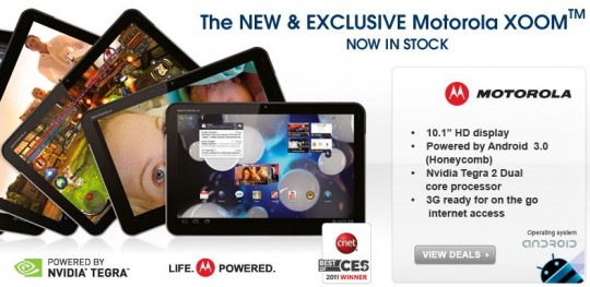 Motorola XOOM 3G Version hits UK; now on Sale for a Price of £579.99