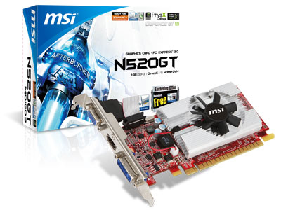 MSI N520GT-MD1GD3/LP 3D Vision-ready Graphics Card announced