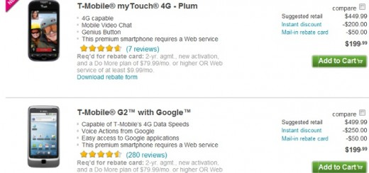 T-Mobile myTouch 4G and T-Mobile G2 4G gets a Price cut from T-Mobile and Amazon